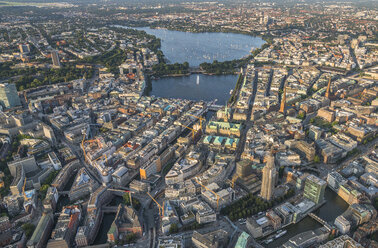 Germany, Hamburg, aerial view of district Mitte with Alster Lake - PVCF01014