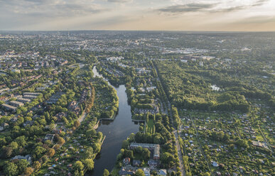 Germany, Hamburg, aerial view of district Alsterdorf with Eppendorfer Moor nature reserve - PVCF01023