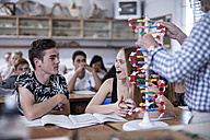 Teacher with DNA model and students in class - ZEF12819