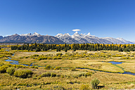 USA, Wyoming, Rocky Mountains, Grand Teton National Park, Cathedral Group and Snake River - FOF08857