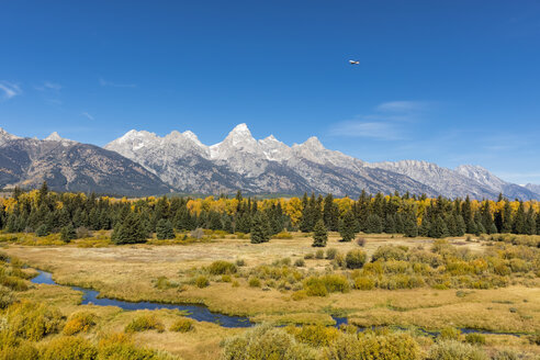 USA, Wyoming, Rocky Mountains, Grand Teton National Park, Cathedral Group and Snake River - FOF08863