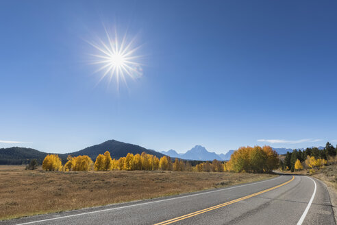 USA, Wyoming, Rocky Mountains, Grand Teton National Park, John D. Rockefeller Jr. Parkway with Mount Moran - FOF08877
