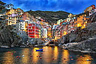 Italy, Cinque Terre, view to Riomaggiore at dawn - YRF00153