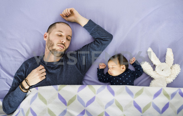 Newborn baby girl,father and a stuffed rabbit sleeping in bed - GEMF01482