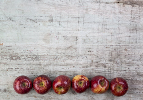 Row of six red apples - JUNF00855