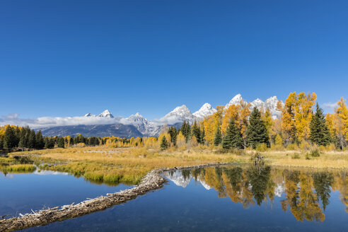 USA, Wyoming, Grand Teton National Park, view to Teton Range with Snake River in the foreground - FOF08900