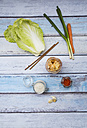 Glass of Kimchi and ingredients on  wood - LVF05890