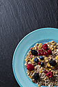 Plate of granola with various wild berries on slate - CSF27926