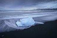 Iceland, Jokulsarlon, glacial ice on the beach at blue hour - EPF00359