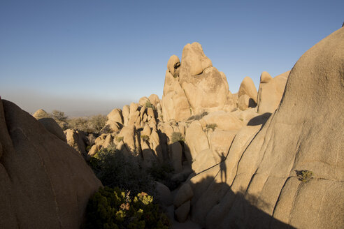 USA, California, Joshua Tree National Park, rock formation in shadow and sunlight - LMF00712