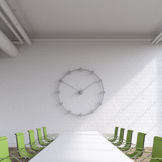Empty conference room with oversized wall clock, 3D Rendering - UWF01132
