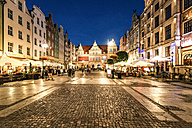 Poland, Gdansk, old town, Green Gate and Long Lane at night - CSTF01291
