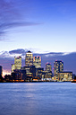 UK, London, skyline with Canary Wharf skyscrapers at dawn - BRF01439