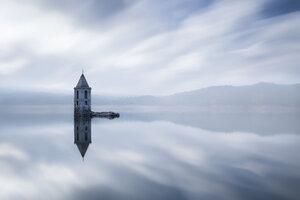Spain, Vilanova de Sau, submerged Church of Sant Roma at Sau Reservoir - XCF00143