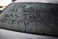 Dirty car window with inscription - TLF00752