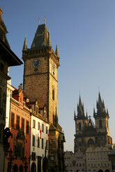 Czechia, Prague, Town Hall and Church of Our Lady Before Tyn at dusk - DSGF01501