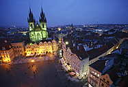 Czechia, Prague, Old Town Square and illuminated Church of Our Lady Before Tyn at dusk seen from above - DSGF01507