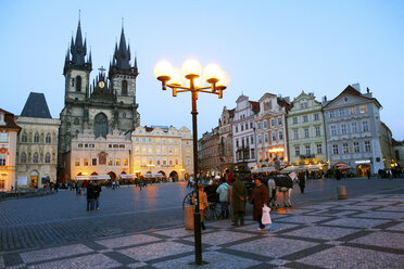 Czechia, Prague, Old Town Square with Church of Our Lady Before Tyn and row of historical houses at blue hour - DSG01519