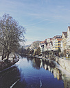 Germany, Baden-Wuerttemberg, Tuebingen, Row of houses, frozen Neckar river - LVF05931