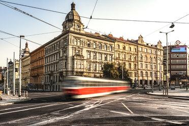 Czechia, Prague, tramway driving on crossroad - CSTF01298