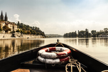 Czechia, Prague, ship's bow with lifesavers on Vltava - CSTF01304