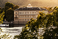 Czechia, Prague, view to Liechtenstein Palace with Vltava in the foreground - CSTF01307
