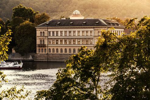 Czechia, Prague, view to Liechtenstein Palace with Vltava in the foreground - CSTF01307