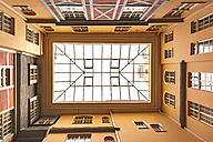 Latvia, Riga, roofed courtyard in the old town seen from below - CST01336