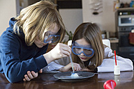 Two children wearing safety glasses using chemistry set at home - SARF03225