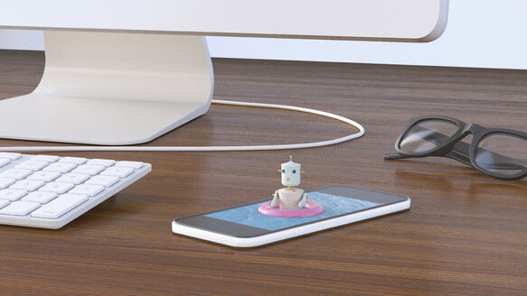 Female robot bathing in cell phone, 3D rendering - UWF01137