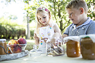 Smiling sister and brother at garden table - WESTF22806