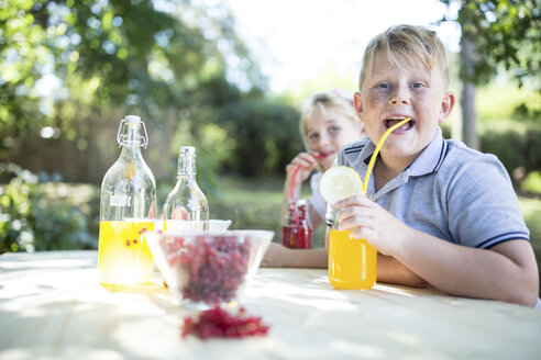 Sister and brother drinking homemade lemonade at garden table - WESTF22809