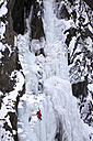 Norway, Telemark, Rjukan, ice climber in an icefall - DSG01542