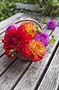 Wickerbasket of colourful dahlia blossoms on wooden garden table - GWF05022
