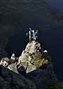 UK, North Wales, Snowdonia, Craig Cwm Silyn, two mountaineers on Outside Edge Route - ALRF00847