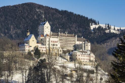 Germany, Bavaria, Aschau, Hohenaschau Castle in winter - THA01921