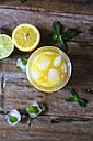 Glass of orange juice, limes, lemon and ice cubes - GIOF02245