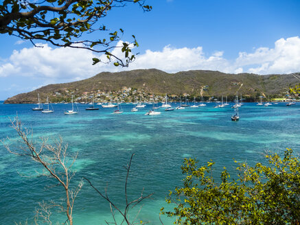 Caribbean, St. Vincent And The Grenadines, Bequia, bay of Port Elisabeth with sailing ships - AMF05341