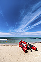 Spain, Menorca, Son Bou, dinghy on the beach - SMAF00712