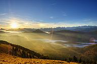 Germany, Bavaria, Jachenau, view from Hirschhoernlkopf at sunrise - SIEF07351