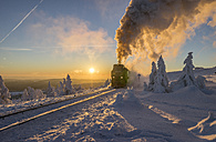 Germany, Saxony-Anhalt, Harz National Park, Brocken Railway at winter evening - PVCF01036
