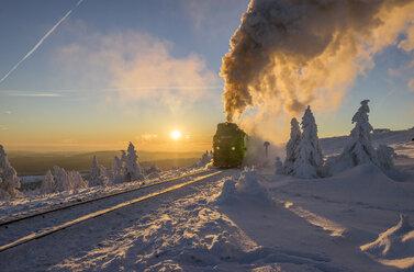 Germany, Saxony-Anhalt, Harz National Park, Brocken Railway at winter evening - PVCF01036
