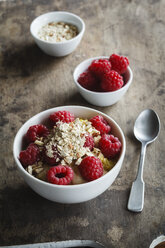 Bowl of porridge with raspberries - EVGF03133