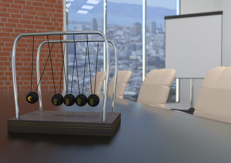 Newton's cradle with Euro symbol and paragraphs on conference table, 3d illustration - ALF00722