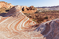 USA, Nevada, Valley of Fire State Park, colored sandstone and limestone rocks of the Fire Wave - FOF09091