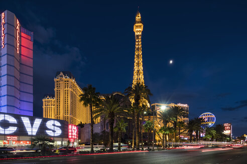 USA, Nevada, Las Vegas, Strip with Eiffel Tower at blue hour - FO09109