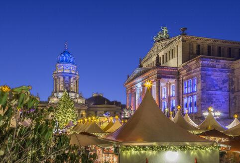 Germany, Berlin, Christmas market at Gendarmenmarkt at night - PVCF01046