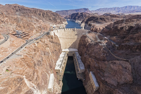 USA, Nevada, Arizona, Lake Mead, Colorado River, Hoover Dam as seen from Mike O'Callaghan-Pat Tillman Memorial Bridge - FOF09111