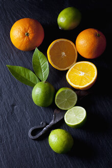 Sliced limes and oranges with an old knife - CSF28166