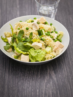 Dish of couscous salad with chicken meat - KSWF01803